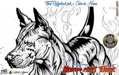 Thai Ridigeback ink + Colors in Hours Desenho de Cães...!!! Dog Drawings