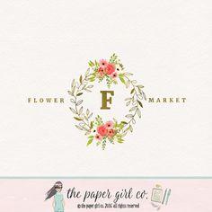 florist logo flower logo floral logo watercolor by ThePaperGirlCo