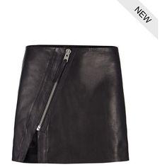 AllSaints Mini Split Lucille Skirt ($165) ❤ liked on Polyvore featuring skirts, mini skirts, bottoms, black, leather panel skirt, black skirt, leather zipper skirt, asymmetrical leather skirt and black high waisted skirt