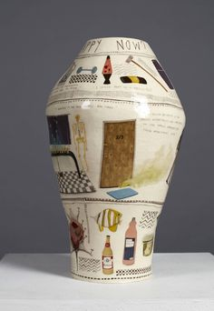Narrative, hand-built pot based on Jeffrey Dahmer. A serial killer described as 'conventionally handsome', introverted and kind who 'seemed like a nice guy'. The pot explores the contrast between Dahmer's personality with his actions. Ceramic Vase, Ceramic Pottery, Bohemian Interior, Modernism, Art Lessons, Decoration, Arts And Crafts, Artwork, Handmade