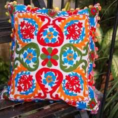 Vintage Suzani Cushion Cover Embroidered  16'' Indian Pillow Case #Handmade #Traditional