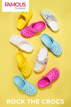 The most colorful Crocs for whatever today brings. Find 'em today at Famous Footwear. Swag Outfits For Girls, Girls Fashion Clothes, Teenager Outfits, Teen Fashion Outfits, Cute Casual Outfits, Nike Air Shoes, Crocs Shoes, Cute Sneakers, Shoes Sneakers