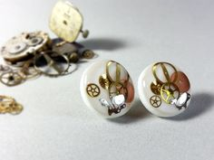 White resin earrings, Steampunk earrings, Ecofriendly resin, Upcycled earrings, Crystal clear resin, Vintage earrings, steampunk jewelry, by ByEmilyRay on Etsy https://www.etsy.com/listing/221260868/white-resin-earrings-steampunk-earrings