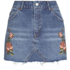 Topshop Petite Rose Embroidered Skirt (1.320 UYU) ❤ liked on Polyvore featuring skirts, topshop, mid stone, topshop skirts, floral printed skirt, floral print skirt, blue floral skirt and floral print mini skirt