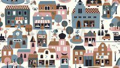 Town - Blue - Wall Mural & Photo Wallpaper - Photowall