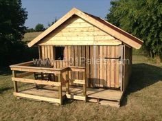 A gorgeous play house for  your kids made entirely out of pallets.