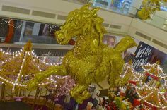 Golden flying above the stalls at Avenue K, Ampang Road in KL. Chinese New Year Decorations, New Years Decorations, Golden Horse, Stalls, Fair Grounds, Horses, Blog, Horse, Blogging