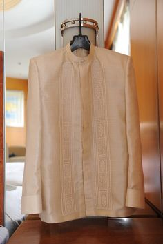 Filipiniana Top and Dress (Kultura), Father Of The Bride Outfit, Wedding Outfits For Groom, Wedding Groom, Wedding Reception, Barong Tagalog Wedding, Barong Wedding, Filipiniana Wedding Theme, Wedding Gowns, Modern Groom