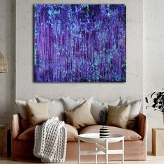 Room View - Torrential Purple Storm (A Closer Look) #1 (2020) by Nestor Toro Action Painting, Large Painting, Acrylic Painting Canvas, Abstract Expressionism Art, Abstract Art, Cut Canvas, Teal Background, Closer, Purple