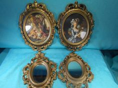 Vintage Decor, Burwood Mirrors- 2, And Gold Plastic Framed Prints-2, 4 Piece Set Of Vintage Wall Decor by SETXTreasures on Etsy
