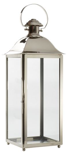Topped with a ring detail, this tall lantern is crafted of gleaming stainless steel with clear glass panes. Tall Lanterns, Silver Home Accessories, Amalfi, Clear Glass, Stainless Steel, Home Decor, Decoration Home, Room Decor, Large Lanterns