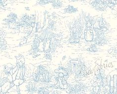 "Beatrix Potter Peter Rabbit BLUE TOILE CoTToN FaBriC Garden Tales - Long Quarter """" by NsewFabrics on Etsy https://www.etsy.com/listing/505067059/beatrix-potter-peter-rabbit-blue-toile"