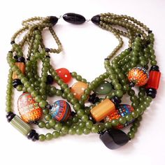 Angela Caputi Olive Green Resin Necklace Artisan and Spice Colored Beads  #AngelaCaputi #Choker