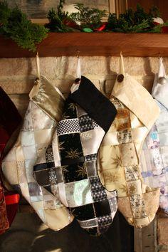 Black and White Woven Ribbon Christmas Stocking - etsy.com/hammerfairy