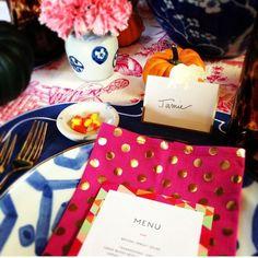 Thanksgiving table setting pink and blue, furbish studio, pink and gold napkins, holiday table