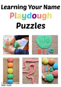 Grab the playdough and practice learning your name with this fun puzzle in this playful preschool activity.
