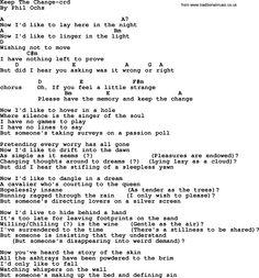 Phil Ochs song Keep The Change- by Phil Ochs, lyrics and chords