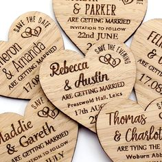 Affordable wooden save the dates add a rustic charm to start your invites. These engraved wedding magnets come with or without envelopes.