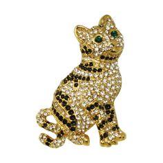 Jasper Gold Tone Austrian Crystal Cat Brooch