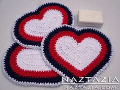 Crochet Heart Dishcloth and Potholder--free pattern--good for Valentine's Day or Christmas if done in different colors.