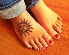 Trendy sun foot tattoo design for women tattoos. Foot Tattoos Girls, Small Foot Tattoos, Foot Tattoos For Women, Girl Tattoos, Hippie Tattoos, Sun Tattoos, Great Tattoos, Trendy Tattoos, Sleeve Tattoos