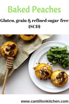 Baked peaches - A delicious appetizer free from: gluten, grains and refined sugar. Paleo and Specific Carbohydrate Diet-friendly. Healthy Appetizers, Appetizers For Party, Baked Peach, Specific Carbohydrate Diet, Tray Bakes, Thanksgiving Recipes, Peaches, Sugar Free