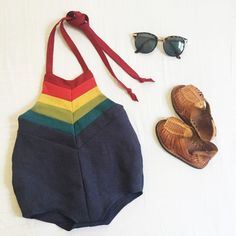 + A beautiful playsuit made from 100% linen featuring all the colors of the rainbow. The muted tones are the perfect way to celebrate the end of summer and the beginning of fall. Garment ties around the neck and has elastic in the back of the waist. Item will ship 3 weeks from purchase date. No rushed orders are possible.