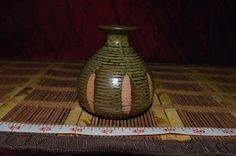 """Handmade Pottery Small Green and Brown Design Vase 3 3/8""""x2 1/2"""""""