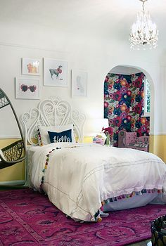 Tassel Bedding | Rattan Headboard | Floral Nook | Hanging Chair via Hunted Interior