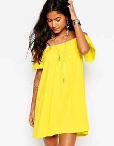 ASOS Off Shoulder Mini Dress - Yellow