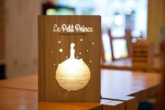 wooden book lamp, le petit prince