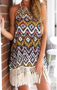Bohemian Halter Floral Print Fringe Splicing Sleeveless Dress #Fashion #Women #Dress