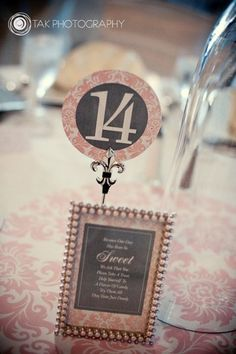 pink damask wedding table number idea