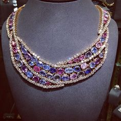@josephsaidianandsonsjewelry. A beautiful diamond and multi color natural #sapphire #necklace Circa 1970