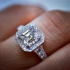 It's been a super long day but nothing fixes a long day better than some refreshing relaxing... bling. That's right...nothing makes my day brighter than staring at stunning diamonds. And this Asher cut diamond is nothing to blink twice about. The perfect