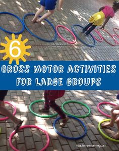 6 Gross Motor Activities for Large Groups Meets SACERS Furnishings for gross motor activities subscale and/or ECERS-R Gross motor equipment subscale. This will also meet ELS Physical Development Standards Gross Motor Skills Domain for and children. Physical Activities For Kids, Pe Activities, Motor Skills Activities, Outdoor Activities For Kids, Gross Motor Skills, Field Day Activities, Physical Play, Exercise Activities, Physical Education