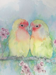 Love Birds original watercolour by Amanda Wright