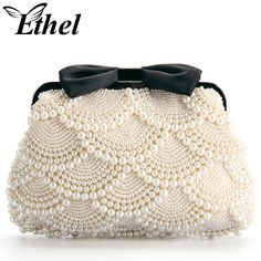Ethel Handmade Women Beading Evening Bags Beige Pearls with Black Bow Bridal Clutch Purse Chain Crossbody Bag Sacs Bolsas