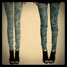Jean look leggings Faux denim leggings. Pocket print. Pretty stretchy, and not see through when stretched (see last pic). Waistband 26 inches relaxed, can stretch more. Inseam 25 inches from crotch relaxed. Pants Leggings