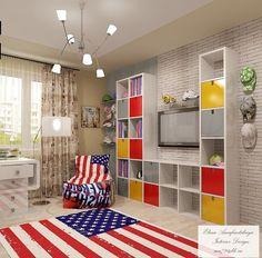 Комната для молодой девушки, любящей Америку. Детская