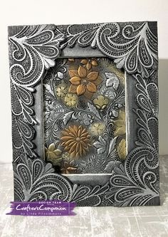 Frame created made using Crafter's Companion 3D Embossing Folder - Country Garden & Ornate Lace. Designed by Linda Fitzsimmons #crafterscompanion