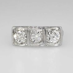 Edwardian 1.77ct t.w. Old European Cut Three Stone Engraved Diamond Ring 18k | Antique & Estate Jewelry | Jewelry Finds