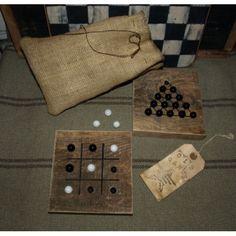 primitive game boards | Primitive Mini Barn Wood Game Board Set
