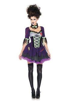 Leg Avenue Women's 3 Piece Frankie's Bride Costume Purple Medium/Large