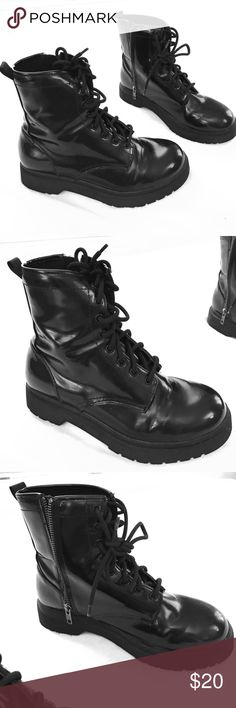 Black combat boots Only worn 2-3 times. The outside is material that is waterproof. They zipper on the inside of the foot. A little bit of wear on the front of the boots, including a small white mark. Mossimo Supply Co. Shoes Combat & Moto Boots