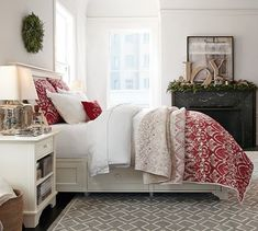 Keller Stitched Quilt & Sham | Pottery Barn | Classic Red quilt and simple Christmas decor - love it!