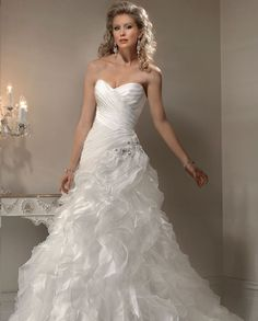 "New Maggie Sottero ""Miri"" Strapless,Corset Back,""Diamond White""Bridal Gown SZ 8"