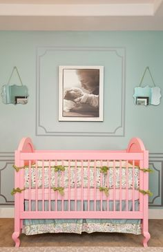 love the mirrors! and the pink + light blue!