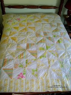 Pinwheel quilt made from vintage sheets