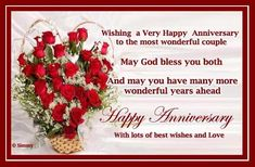 Happy Anniversary Wishes Images and Quotes. Send Anniversary Cards with Messages. Happy wedding anniversary wishes, happy birthday marriage anniversary Anniversary Wishes For Friends, Happy Wedding Anniversary Wishes, Anniversary Message, Anniversary Greetings, Anniversary Dinner, Aniversary Wishes, Best Birthday Wishes Quotes, Birthday Wishes Flowers, Happy Birthday Flower